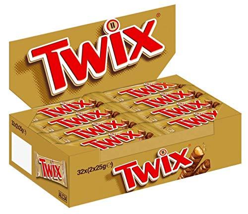 Twix Schokoriegel | Keks, Karamell | 32 Doppelriegel in einer Box (32 x 2 x 25 g)