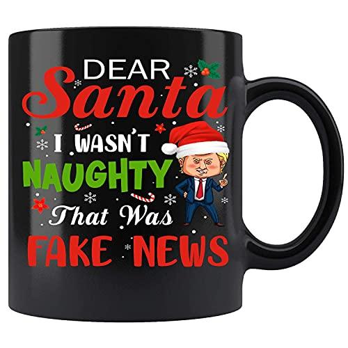 Pijama de Navidad Trump - Dear Santa Fake News Taza de café de cerámica Taza de té