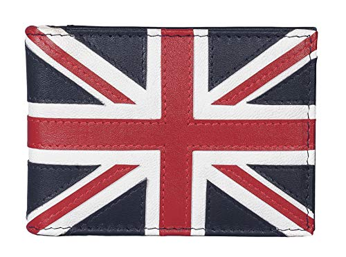 Mala Leather - Tarjetero de piel con protección RFID, diseño de bandera de Reino Unido