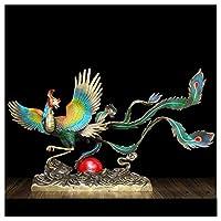 純銅フェニックスの装飾品、百羽の鳥のチャオフェン工芸品、光の高級リビングルームの入り口装飾,D