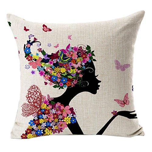 Sannysis fodere per cuscini federa vintage di cotone stampato floreale divano(Nero)