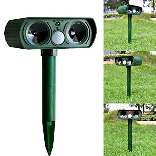 Wikomo Dog Cat Repellent, Ultrasonic Animal Repellent with Motion Sensor and Flashing Lights Outdoor Solar Powered Waterproof Farm Garden Yard Repellent