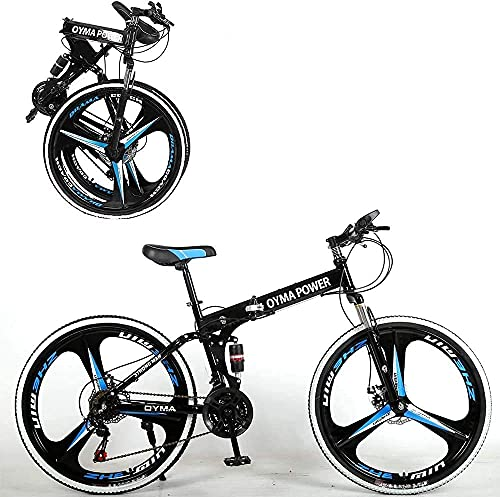 26 inch 21 Speed Folding Mountain Bike, High Carbon Steel Full Suspension MTB Bicycle for Adult,...