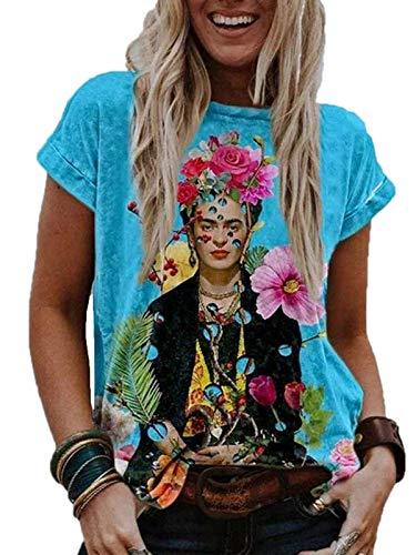 oneforus Mujer Pintura al óleo T-Shirt - Gráfico Impreso Manga Corta Cuello Redondo Funny tee Shirt Verano Tops S-XXXL