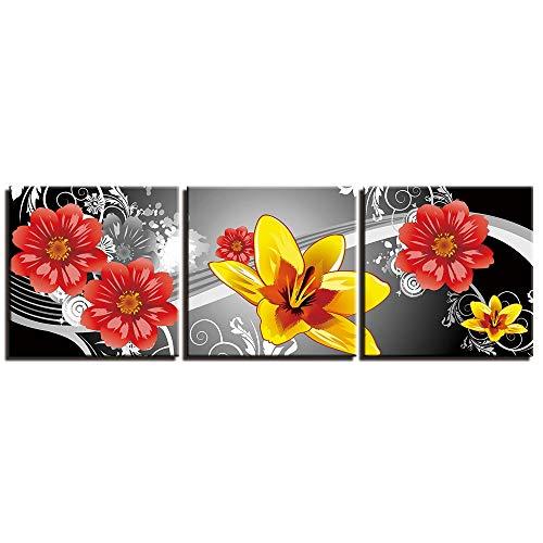 MMLFY 3 schilderijen op canvas afbeeldingen en schilderijen natuur dode bloemen schilderij voor slaapkamer 3 stuks moderne posters langwerpig en No Frame 40x40cmx3 No Frame