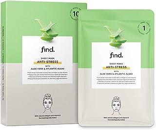 Amazon-merk: find. Anti-stress gezichtsmasker, Sheet Mask met aloë vera en Atlantische aLGen, 10 stuks