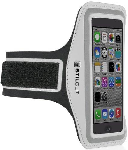 StilGut Sportarmband kompatibel mit iPhone SE & 5/5s, Galaxy S4 Mini, LG G2 Mini (4-Zoll-Geräte), Silber