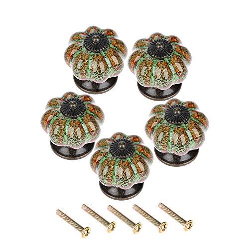Bowarepro 5 pomos de cerámica vintage de calabaza para elegante aparador, gabinete de cocina, cajones, muebles, manijas de leopardo, verde