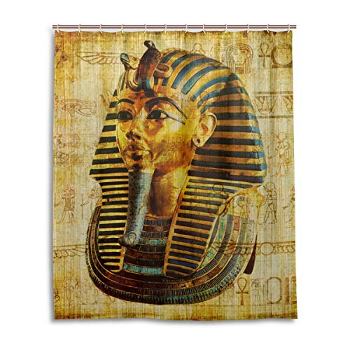JSTEL Decor Rideau de Douche imprimé Pharao égyptienne en Tissu 100% Polyester 152 x 183 cm