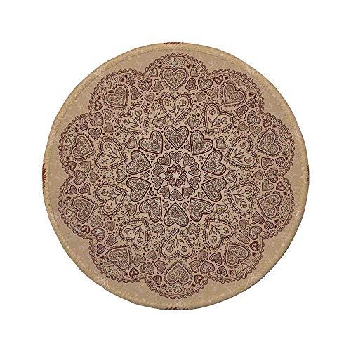Rutschfreies Gummi-rundes Mauspad beige ethnische Herz- und Tulpenmotive Antike florale orientalische asiatische Boho-Chic-Dekoration im Vintage-Stil Schokoladenbeige 7.9