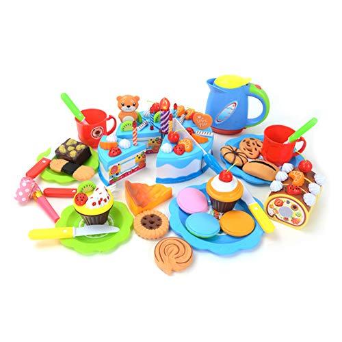 Fnsky Juego de juguetes de pretender, juego para niños y niñas, juego de pastel de cumpleaños, juego de juguete colorido para niños