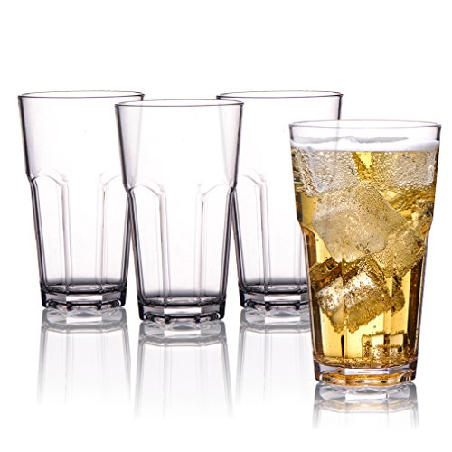 MICHLEY Unzerbrechlich Tritan-Kunststoff wassergläser, trinkglas, longdrink gläser fur Camping Party, BPA-frei 340 ml plastik Tasse 4er set