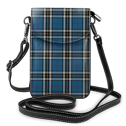 Bolso de cuero ligero de la PU pequeño bolso de Crossbody mini bolsa del teléfono celular bolsa de hombro con correa ajustable Thomson vestido de tartán azul