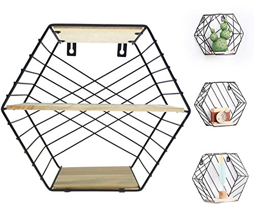 Alrsodl Iron Art Black Hexagon Geometric Grid Double-Deck Wall Mount Decoration Kitchen Living Room Storage Wire Basket Rack