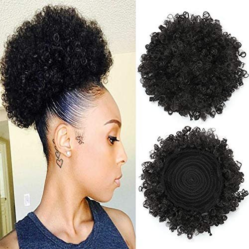 Themis Hair Afro Kinky Curl Synthetic High Puff Drawstring Short Ponytail with Clip in Color 1B