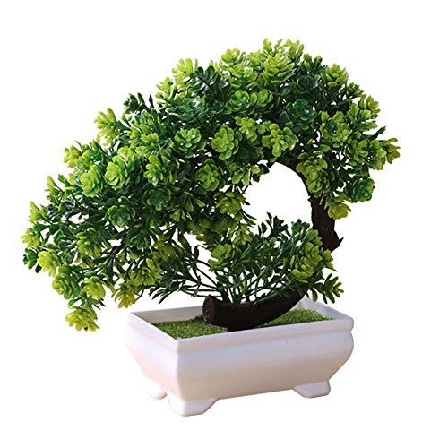 Artily Künstliche Pflanze in Topf-Kunststoff, Kunstpflanzen, Bonsai für drinnen und draußen zu Hause, Garten, Dekoration, Geschenk, Plastik, grün, 19 * 19cm