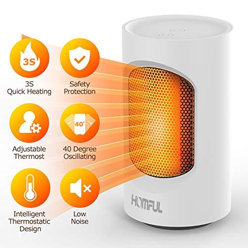 Radiatore stufe elettriche convezione riscaldatore portatile spaziale,Termoventilatore portatile termostato regolabile protezione surriscaldamento Riscaldatore elettrico personale l'home office
