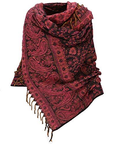 Guru-Shop Weicher Pashmina Schal/Stola mit Paisley Muster, Herren/Damen, Schwarz/pink, Synthetisch, Size:One Size, 210x100 cm, Schals Alternative Bekleidung