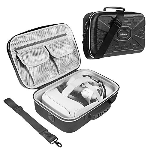 Esimen Hard Protective Travel Case for Oculus Quest 2 Carrying Case Controllers Accessories with Shoulder Strap, VR Glass Protector-Shock-Dust-Water Proof (Case)