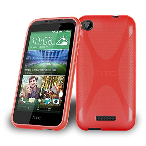 Cadorabo Hülle für HTC Desire 320 - Hülle in Inferno ROT – Handyhülle aus flexiblem TPU Silikon im X-Line Design - Silikonhülle Schutzhülle Soft Back Cover Case Bumper