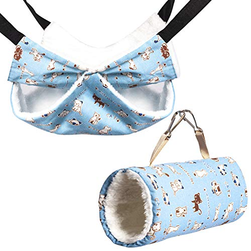 Hanging Tunnel for Hamster Small Animals, Sugar Glider Cage Accessories Hammock Bedding Toys Bed House for Hedgehog Chinchilla Ferret Squirrel Guinea Pig Rat Mouse Playing Sleeping Warm Nest (Blue)