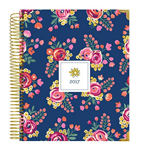 "bloom daily planners 2017 Calendar Year Hard Cover Vision Planner - Monthly and Weekly Column View Planner - (January 2017 Through December 2017) Vintage Floral - 7.5"" x 9"""