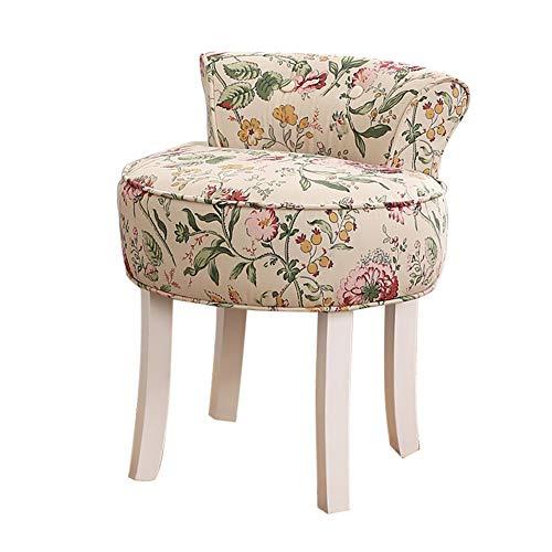RXBFD chair Vanity Stool mit geknöpfter Rückenlehne, Gepolsterter Hocker mit Massivholzbeinen, Lounge Hocker/Makeup Hocker/Barock Klavierstuhl, für Babyzimmer/Arbeitszimmer/Wohnzimmer/Schlafzimmer