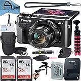 Canon PowerShot G7 X Mark II Digital Camera 20.1MP Sensor with 2 Pack SanDisk 32GB Memory Card + Case + Tripod + A-Cell Accessory Bundle (Black)