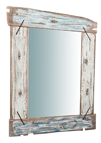 Specchio, Specchiera rettangolare da parete, da appendere al muro, verticale, trucco, bagno, camera da letto, finitura colore come foto dipinto a mano, Shabby chic, L66xPR4xH86