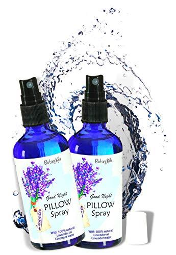 Lavendel Kissenspray Premium 2x100ml, mit 100% natürlichem ätherischem Lavendelöl & Lavendelwasser, völlig naturbelassen, Für Ihre herrliche Entspannung, Lavendelspray für Kopfkissen, BotaniKils