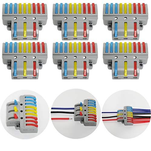 Klemmen Set, Verbindungsklemme Set mit Hebel, Draht Push Kabelverbinder, Kompakt Steckklemmen, 6 Stück Klemmen 12 Polig, Mit Befestigungsschrauben (3 in 9 raus)