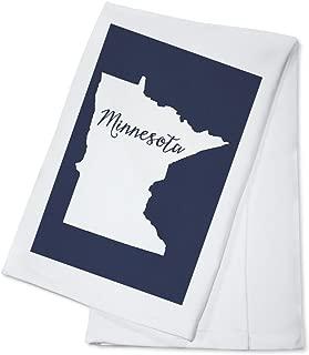 Minnesota - Home State - White on Navy (100% Cotton Kitchen Towel)