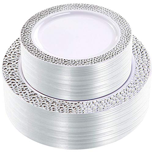 WDF 102pcs Silver Plastic Plates - White with Hammered Design Disposable Wedding Party Plastic Plates Include 51 Plastic Dinner Plates 10.25inch,51 Salad/Dessert Plates 7.5inch