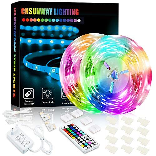 LED Streifen, 10M IP65 Wasserdicht Farbwechselnde 24V 5050 RGB Flexible LED Strip mit 44 Tasten RF Fernbedienung DIY Modus für Innen Außen Deko Schlafzimmer Esszimmer Schrank Weihnachtenn