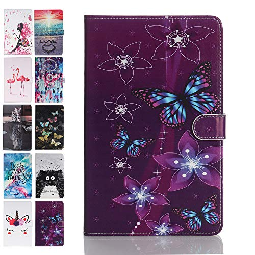 Ancase Tablet Case for Samsung Galaxy Tab S5e (2019) 10.5 Inch T720 T725 Cover Leather Wallet Folio Pattern Design Case Protective with Card Slots - Purple Butterfly