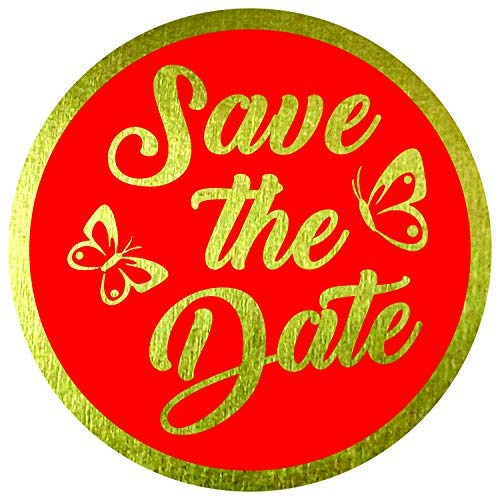 """Save The Date Stickers Seals Labels (Pack of 120) 2"""" Large Round Gold Foil Stamping on Red for Cards Gift Envelopes Boxes"""