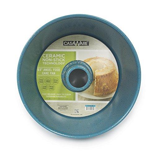 casaWare Angel Food Cake Pan 9.5-inch (15-Cup) Ceramic Coated NonStick (Blue - Granite)