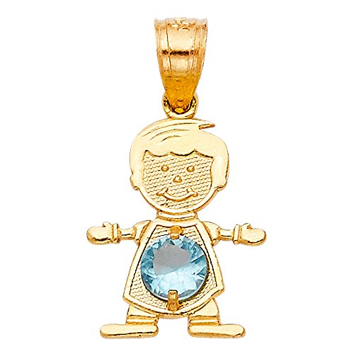 14K Yellow Gold March Birthstone Cubic Zirconia CZ Boy Charm Pendant For Necklace or Chain
