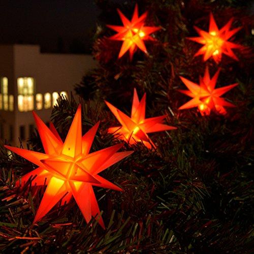 3D LED 9er Sternenkette für innen & außen Stern Adventsstern Weihnachtsstern Neuheit (rot)
