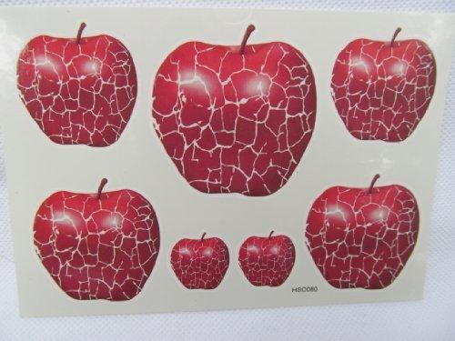 TT: rouge Pomme Tatouages Temporaires, Pour hommes femmes qualité Mode Artistique Fruit brillant rouge cassé mosaïque fissurée pommes par Fat-catz-copie-catz