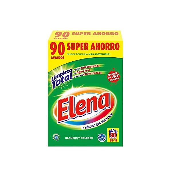 Elena Detergente para lavadora, adecuado para ropa blanca y de color, formato polvo – 90 dosis