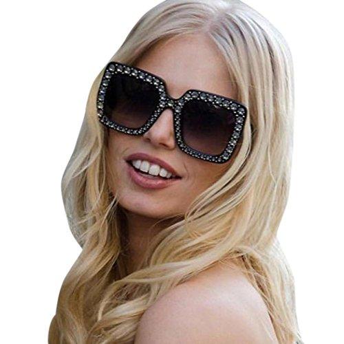Preisvergleich Produktbild Damen Fashion Square Sonnenbrille Rosennie Damenmode künstliche Diamant Katze Ohr Quadrate Metallrahmen Marke Classic Luxury Diamond Flat Sonnenbrille Vintage Goggle Fliegerbrille für Frauen (D)