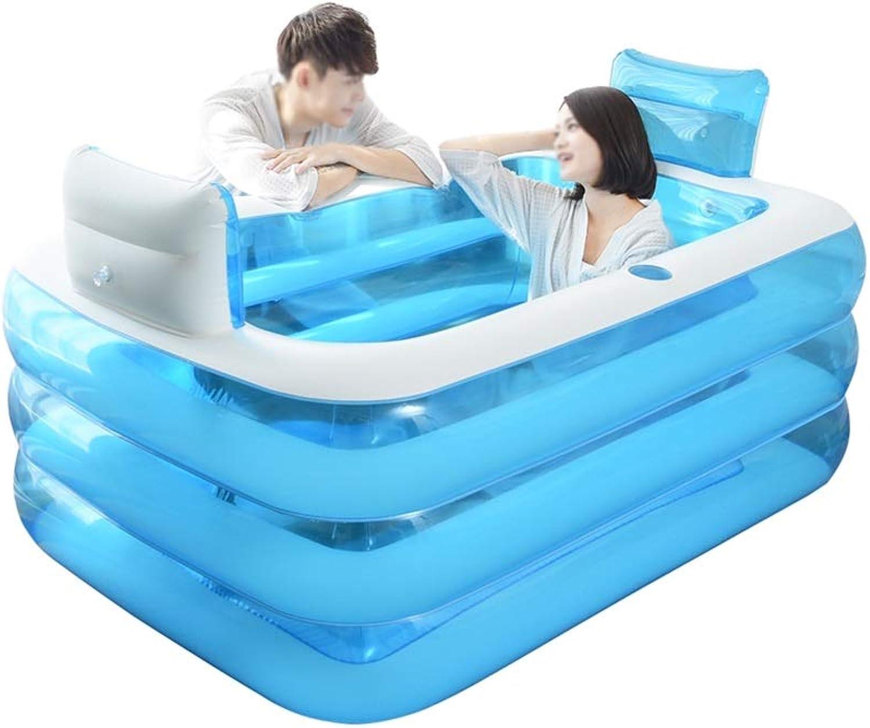 XF Aufblasbare Badewanne, PVC tragbare Badewanne SPA umweltfreundliche tragbare Badewanne für Erwachsene einweichen, Rückenlehne, Kinderbecken, Falten Reise langlebig, blau Freistehende Badewanne