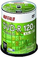 バッファロー DVD-R 1回録画用 4.7GB 100枚 スピンドル 片面 1-16倍速 ホワイトレーベル RO-DR47V-100PW/N