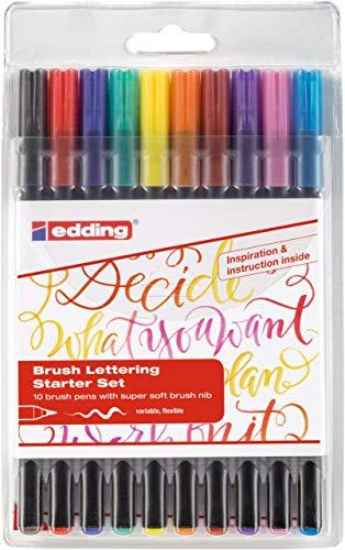 edding 1340 Brush Pen - Fasermaler mit variabler Pinselspitze , 10er Set , Farblich Sortiert