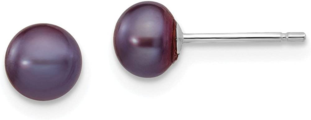14k White Gold Black Button Cultured Pearl Stud Earrings (L-5 mm, W-6 mm)