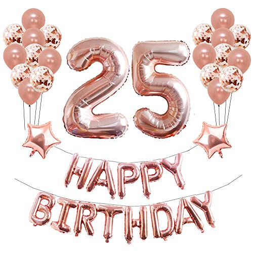 Yoart 25. Geburtstag Dekorationen Roségold für Mädchen Frauen Geburtstagsparty liefert 39 Stück mit Happy Birthday Banner Konfetti Latexballons Stern Folienballons