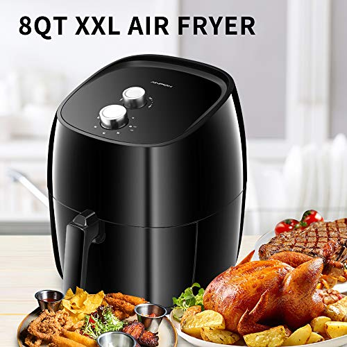 DOIT Extra Large 8QT Air Fryer Combine XXL 2 knobs,8 Cooking Presets & a Free Recipe Book,Oilless Air Fryers Black