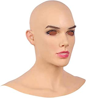 Ajusen Realistic Silicone Head Mask Hand-Made Face Female for Crossdresser Transgender Cosplay Halloween Drag Queen
