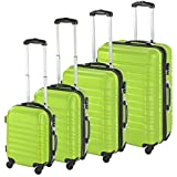 TecTake Set di 4 valigie ABS Rigido Trolley Valigia Bagaglio a Mano Borsa Elegante - Disponibile in Diversi Colori - (Verde | No. 402028)